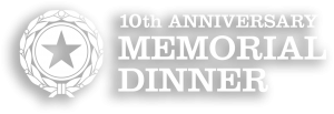 10th Anniversary Memorial Dinner (white logo with shadow)