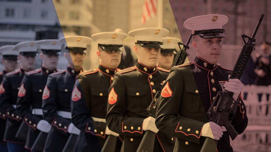 Veteran's Edge (closeup of soldiers in formation at MFH Memorial Dedication)